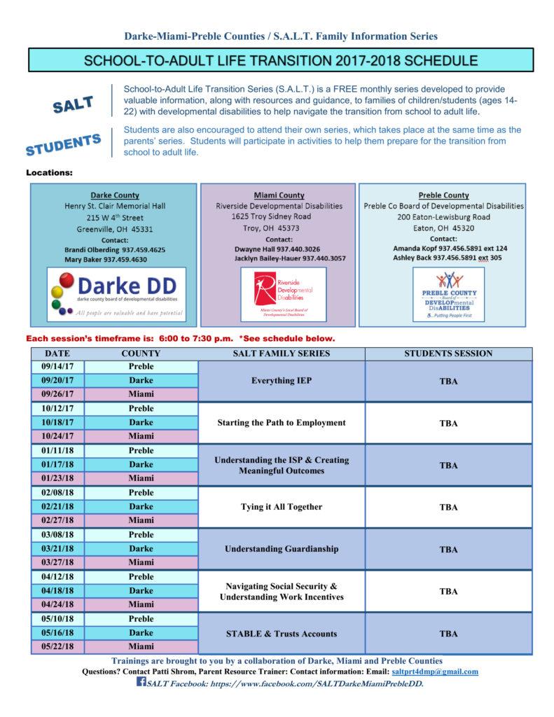 S.A.L.T. schedule 2017-2018