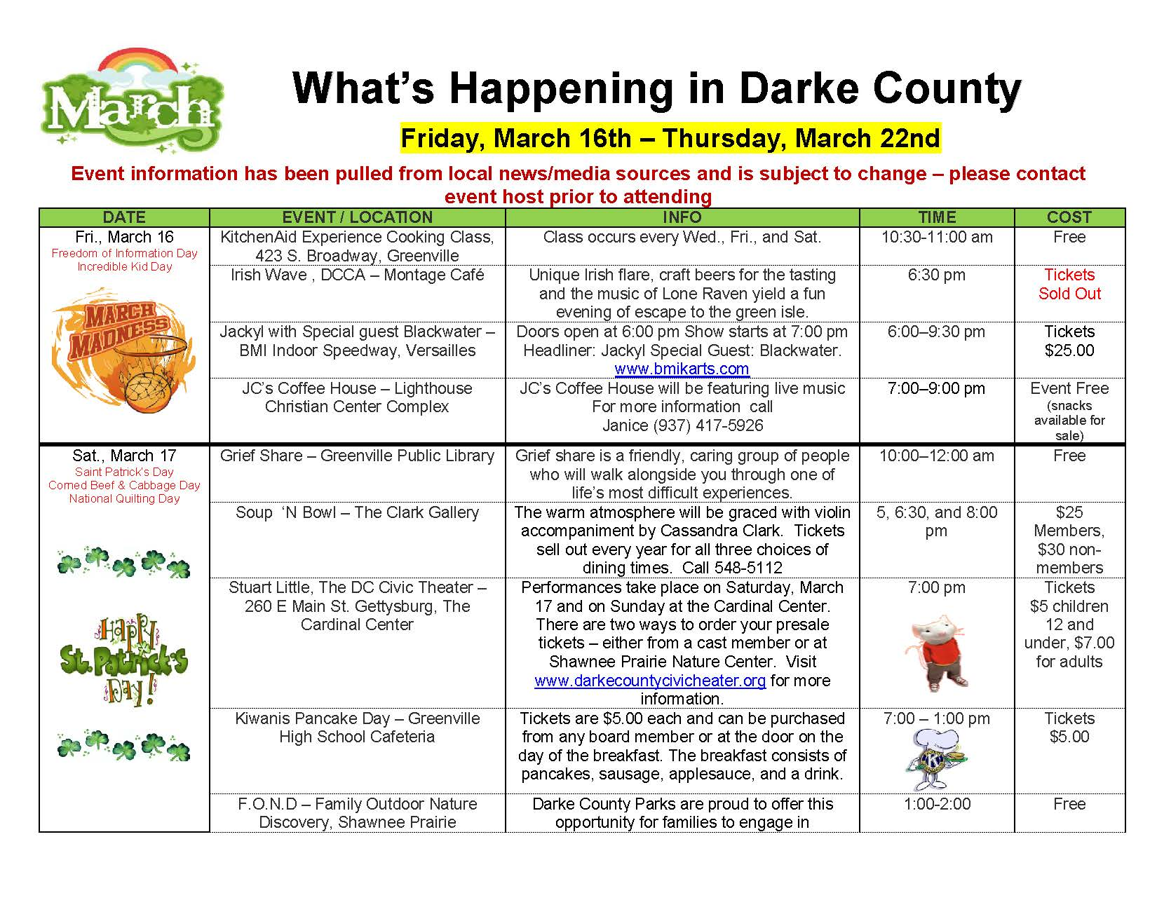 What's Happening in Darke County – 03/16/18 through 03/22/18