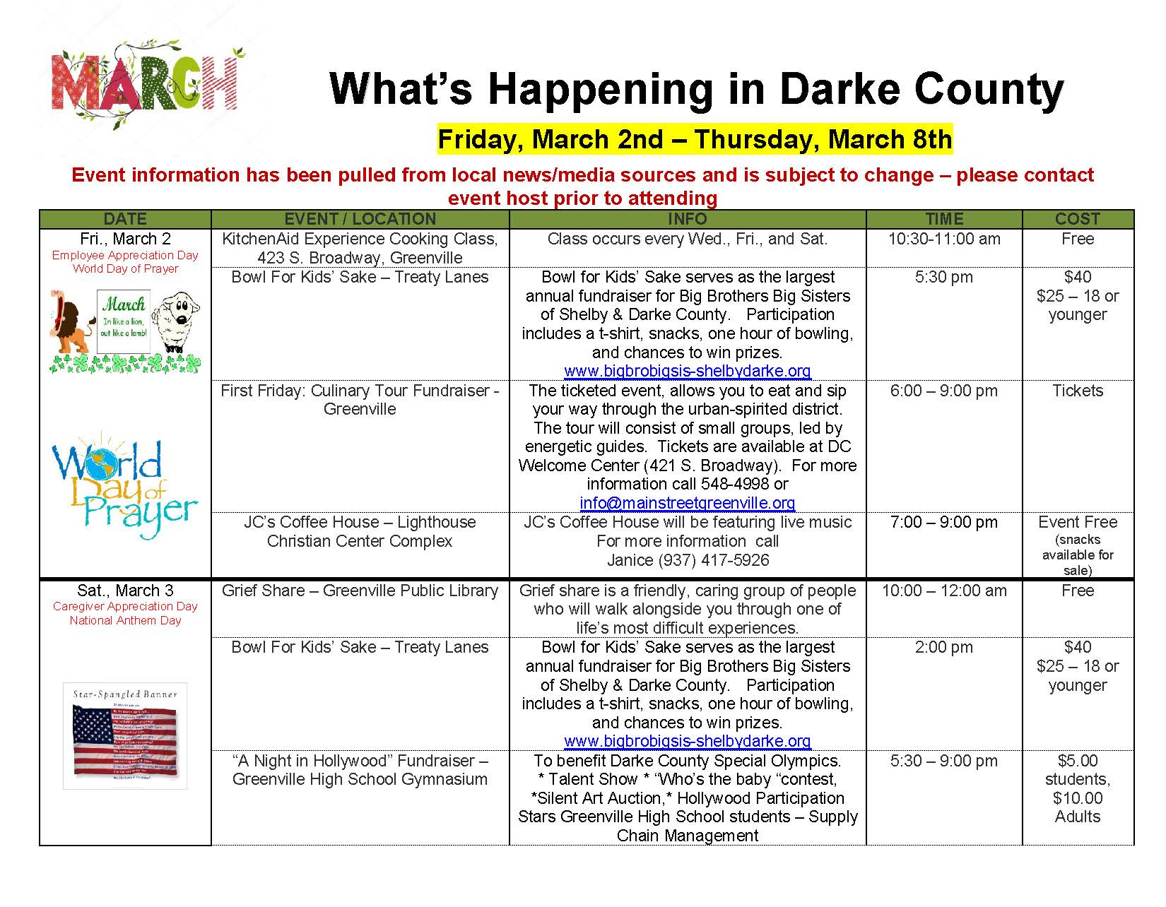 What's Happening in Darke County 3/2/18 – 3/15/18