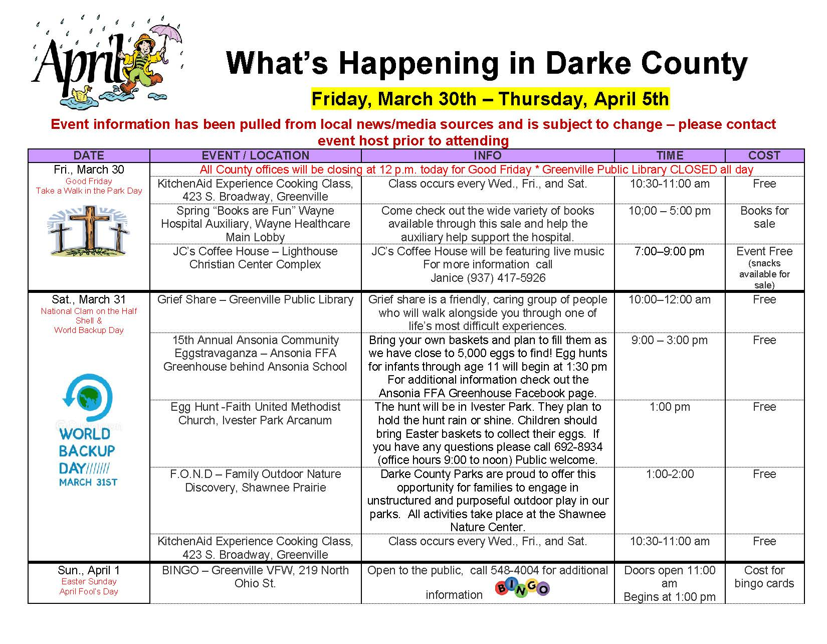 What's Happening in Darke County – March 30th through April 5th