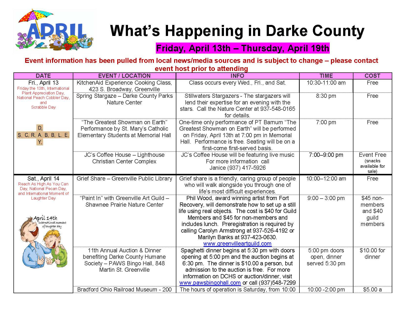 What's Happening in Darke County – 4/13 through 4/26