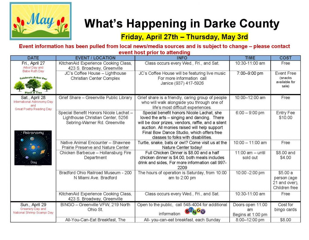 Community Calendar Whats Happening 4.27.18 Page 1