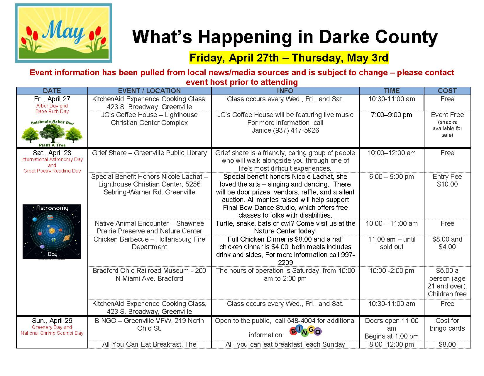 What's Happening in Darke County – 04/27/18 through 05/10/18