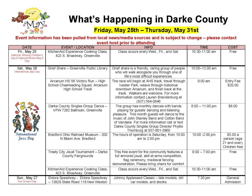 Community Calendar Whats Happening 5.25.18 Page 1