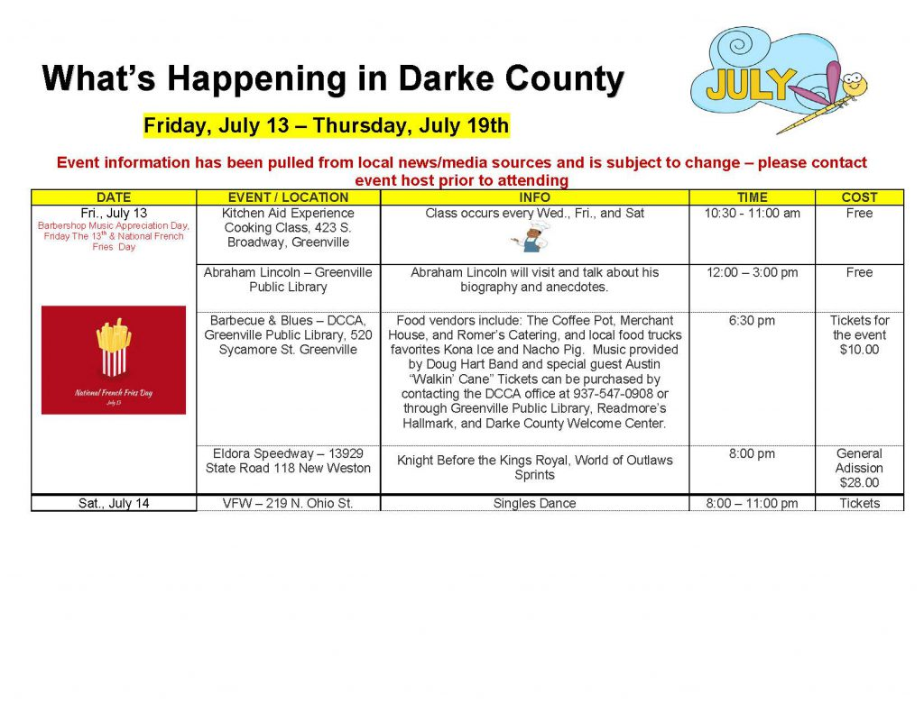 Community Calendar Whats Happening 7.13.18 Page 1 1