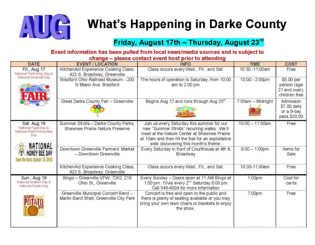 Community Calendar Whats Happening 8.17.18 Page 1