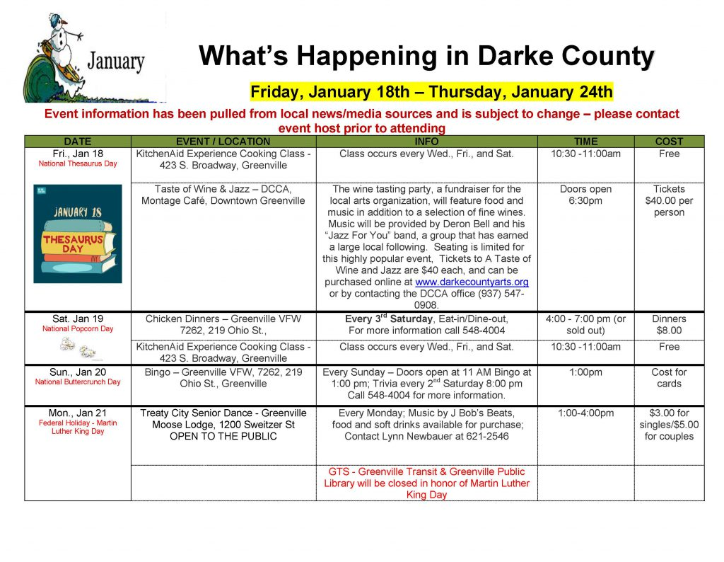 Community Calendar Whats Happening 1.18.19  Page 1